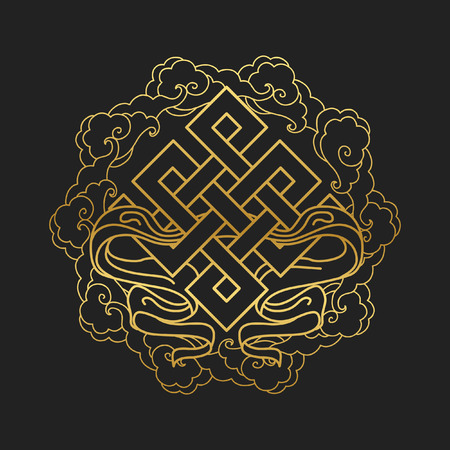 Traditional buddhist symbol of luck. Vector illustration Illustration