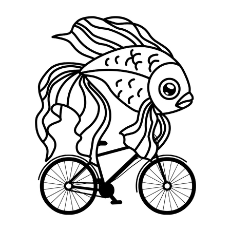 Fish on a bicycle. Vector illustration 向量圖像