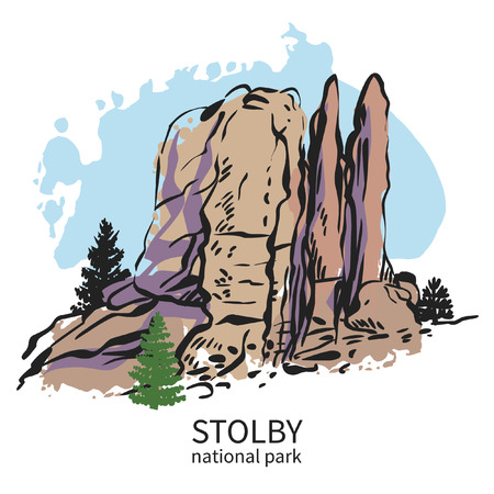 Stolby, national park in Siberia. Feathers rock. Hand drawn vector illustration