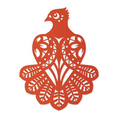 Pájaro bonito. Adorno decorativo basado en el corte de papel tradicional. Ilustración vectorial Ilustración de vector