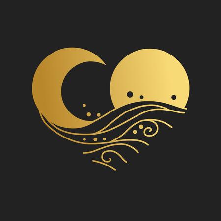 Sonne, Mond, Meereswellen. Dekoratives grafisches Gestaltungselement. Vektorhandzeichnungsillustration