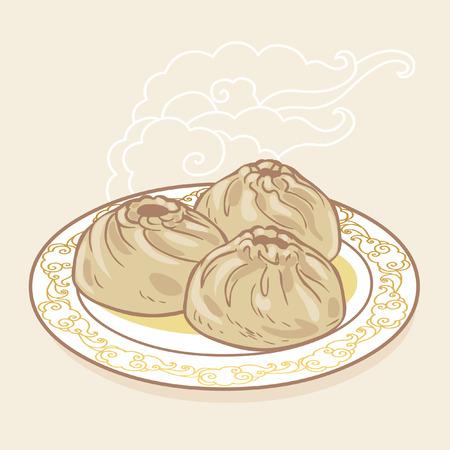 Buuza, traditional dish of people of Baikal region. Vector hand drawing illustration