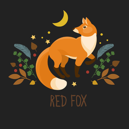 Red fox on black background. Vector illustration for t-shirt print, logo design and other