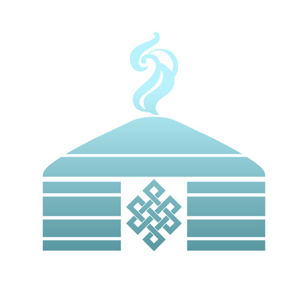 Traditional mongol yurt. Stylized vector illustration
