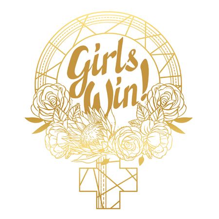 Mirror of Venus with lettering Girls win. Hand drawn vector illustration