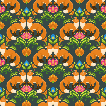 Vector seamless pattern with red fox