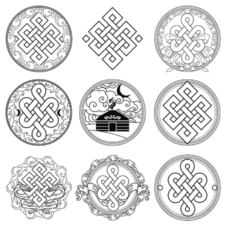 Traditional buddhist symbols of luck. Set of vector signs Vectores