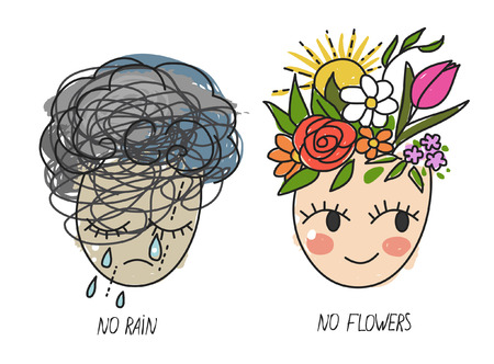 No rain, no flowers. Crying face and smiling face on white background. Vector hand drawing illustration 向量圖像