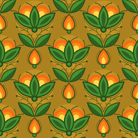 Vector seamless pattern with orange flowers Illustration