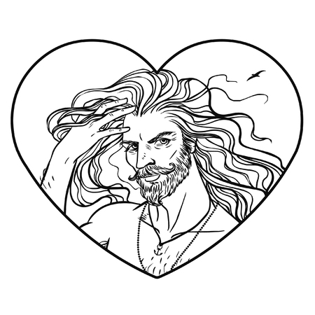 Handsome man with long hair. Hand drawn vector illustration