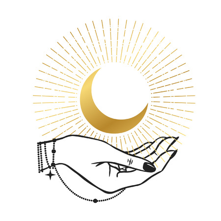 women's hands holding Moon. Hand drawn vector illustration for t-shirt, temporary tattoo, stickers and other