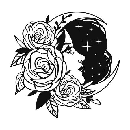 Weibliches Gesicht mit Rosen, Mond und Sternen. Vektor handgezeichnete Tattoo-Skizze Vektorgrafik