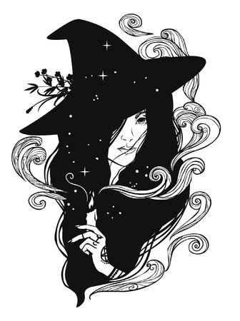 Silueta de bruja joven hermosa con vela. Ilustración vectorial