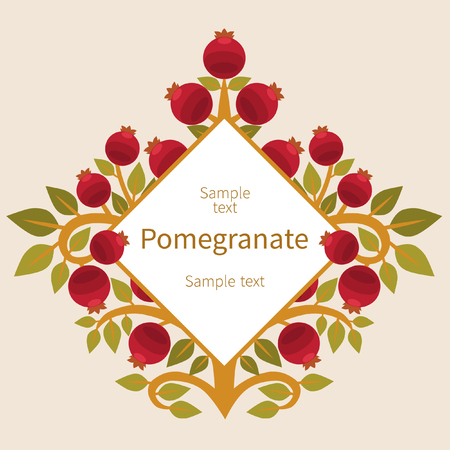 Vector template for pomegranate tree in ethnic style Çizim