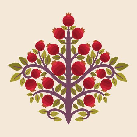 Pomegranate tree. Vector illustration in ethnic style