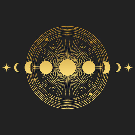 Abstract background with sun, moon and orbits on black background. Vector illustration