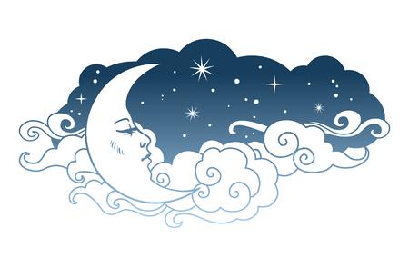 Crescent moon with cloudy sky Vector illustration Ilustração