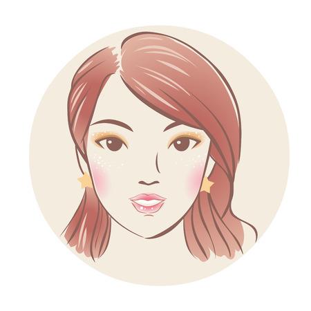 Pretty asian girl. Vector hand drawn illustration