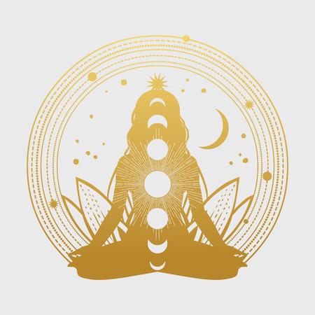 Silhouet van vrouw in lotus houding. vector illustratie