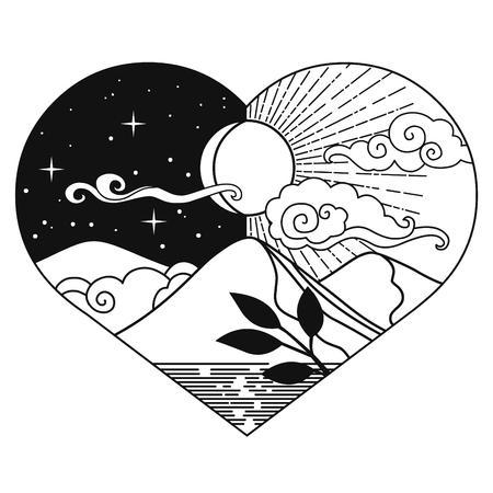 Elemento di design grafico decorativo in stile orientale. Sole, Luna, nuvole, montagne. Illustrazione disegnata a mano di vettore Vettoriali