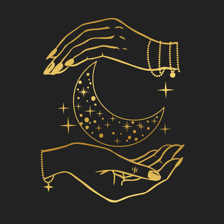 Hands holding crescent moon. Vector illustration in boho style on black background