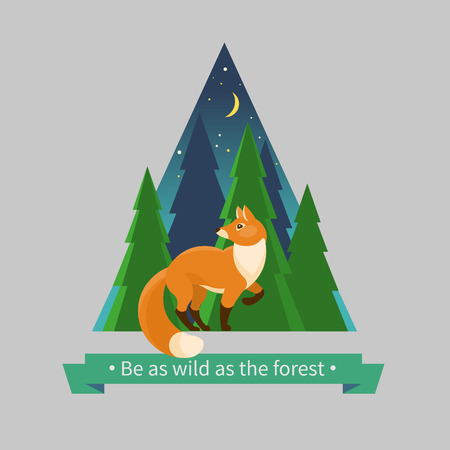Red fox in the forest. Vector illustration in flat style