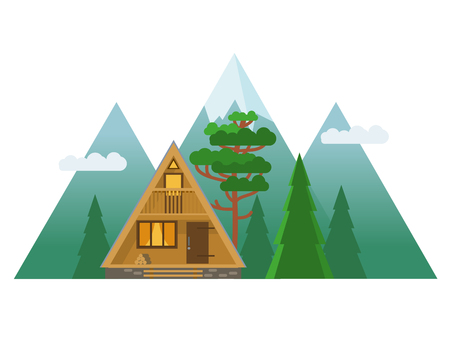 Cozy cabin in the mountains. Vector hand drawn illustration