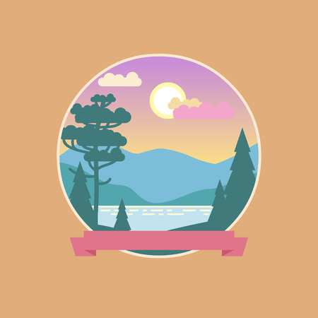 Beautiful landscape in soft pastel tones. Vector icon