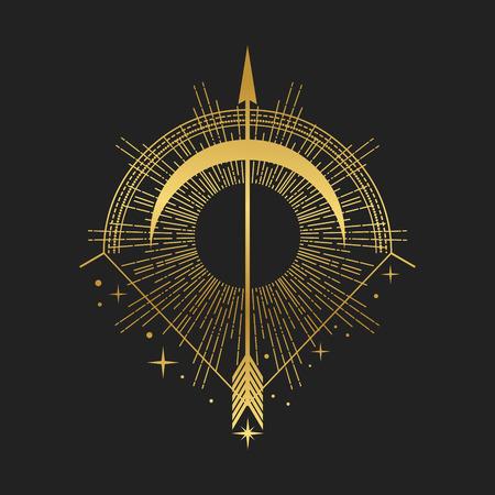 Arco y flecha. Ilustración de vector de estilo boho Ilustración de vector