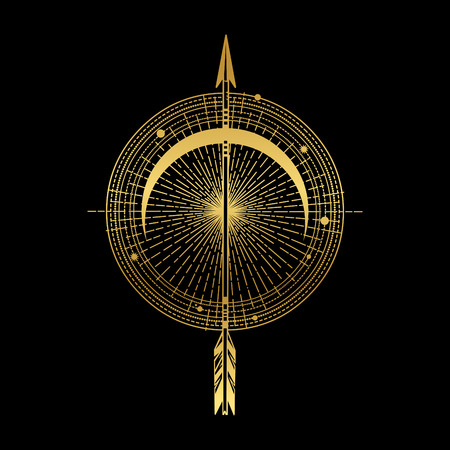 Arco y flecha. Ilustración de vector de estilo boho