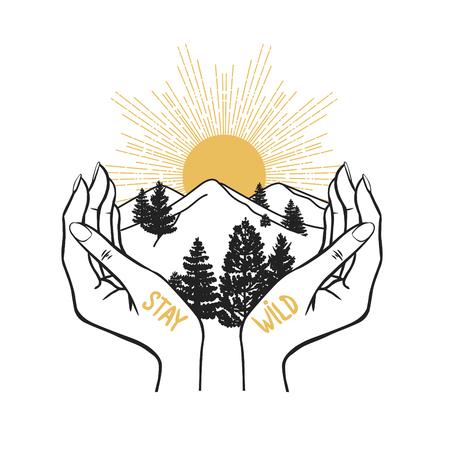 Landscape in hands. Vector illustration in boho style.