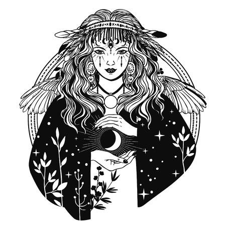 Femme mystérieuse. Illustration vectorielle dessinés à la main