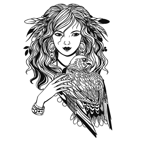 Pretty witch with bird of prey. Vector hand drawn llustration