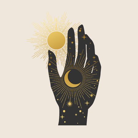 Human hand, moon and sun. Vector illustration in boho style. Imagens - 113786586