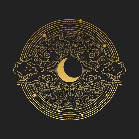 Moon in the cloudy sky. Decorative graphic design elements in oriental style. Vector hand drawn illustration Vektoros illusztráció