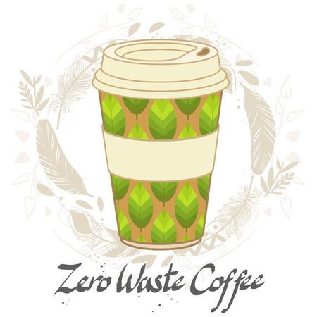Reusable coffee cup. Vector hand drawn illustration