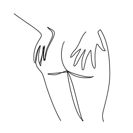 Vrouwelijke billen. Vector hand getekende illustratie