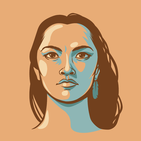 Native american woman with long hair. Vector hand drawn illustration