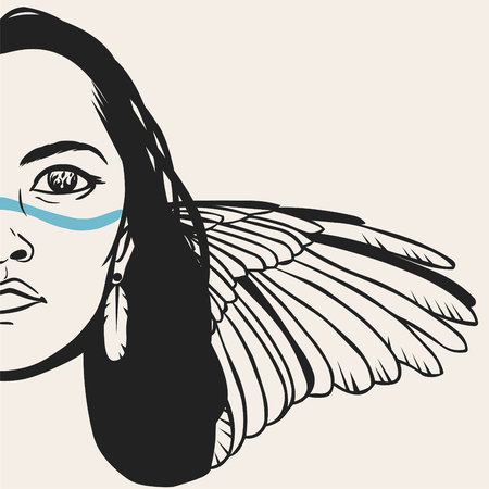 Native american woman with long hair and bird wing. Vector hand drawn illustration