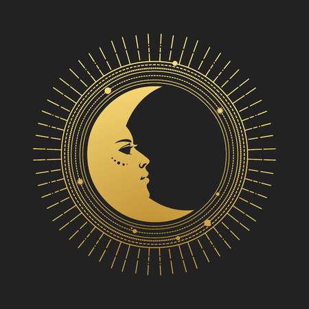Moon on black background. Vector illustration in retro style