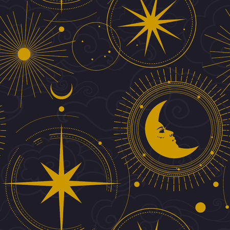 Vector seamless pattern. Golden stars, planets, moon on dark background Ilustrace