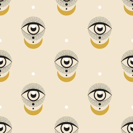 Vector seamless pattern with seeing eye Illustration