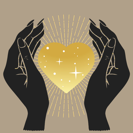 Hands holding golden heart. Vector hand drawn illustration. Ilustração