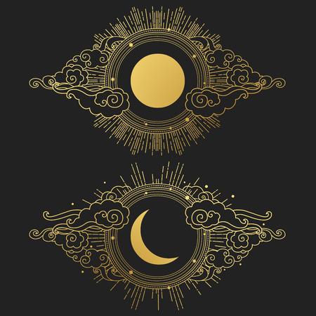 Sun and moon in the cloudy sky. Decorative graphic design elements in oriental style. Vector hand drawn illustration Vektoros illusztráció