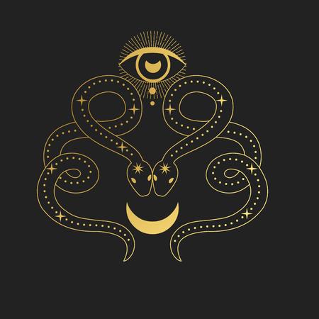 Dwa węże z księżycem. Ręcznie rysowane ilustracja wektorowa