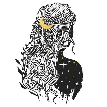 Misteriosa signora con la luna tra i capelli. Illustrazione disegnata a mano di vettore in stile boho