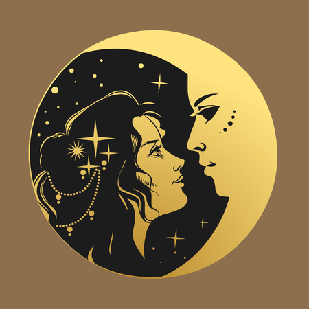 Beautiful young woman and crescent moon. Vector illustration in retro style.