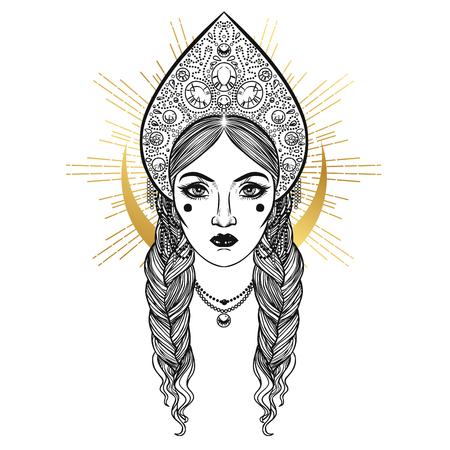 Beautiful young woman in headdress kokoshnik. Hand drawn vector illustration Vektoros illusztráció