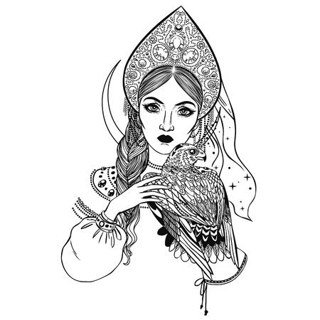 Beautiful young woman in headdress kokoshnik. Hand drawn vector illustration