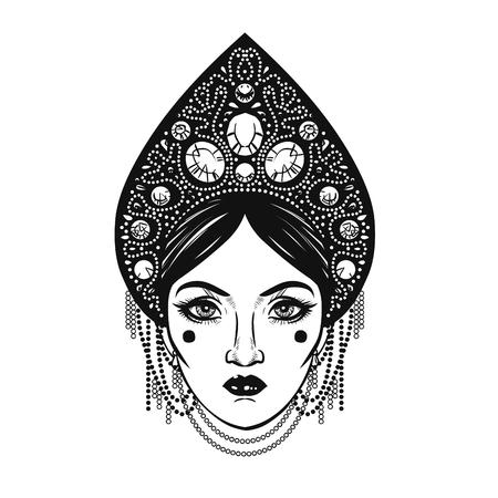 Beautiful young woman in headdress kokoshnik. Hand drawn vector illustration Vector Illustration